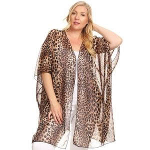 Sweaters - Sheer leopard print, open front cardigan with kimo